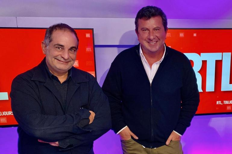Laurent Fontaine et Pascal Bataille dans les locaux de RTL en 2020