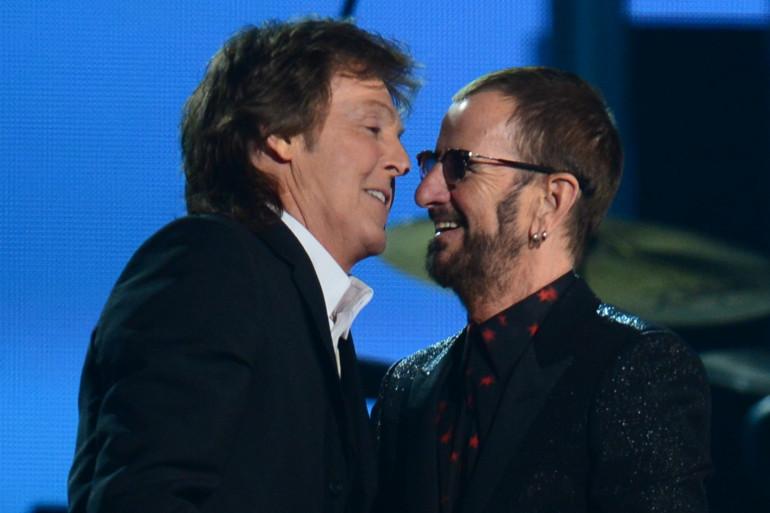 Les deux anciens Beatles Paul Mc Cartney et Ringo Star à la 56e cérémonie des Grammys en 2014