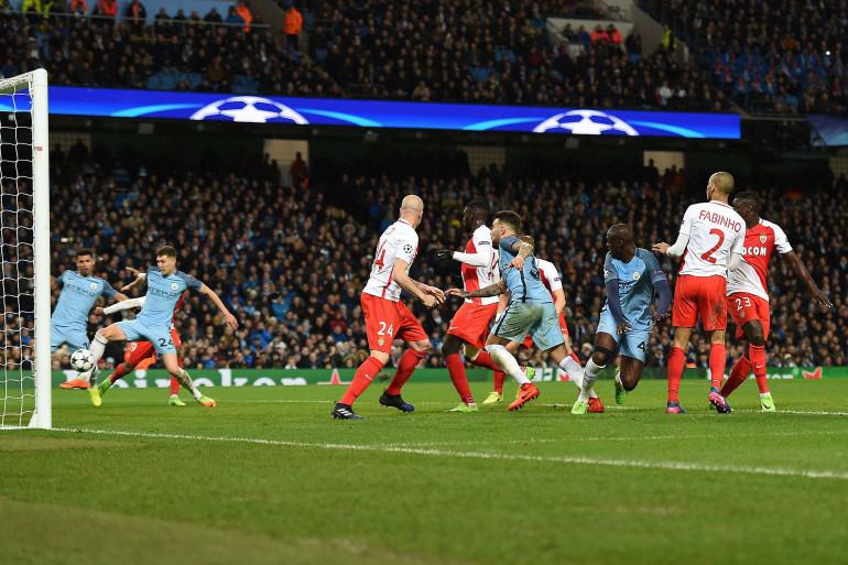 77e minute mardi 21 février 2017 : Stones marque le but du 4-3 pour Manchester City contre Monaco