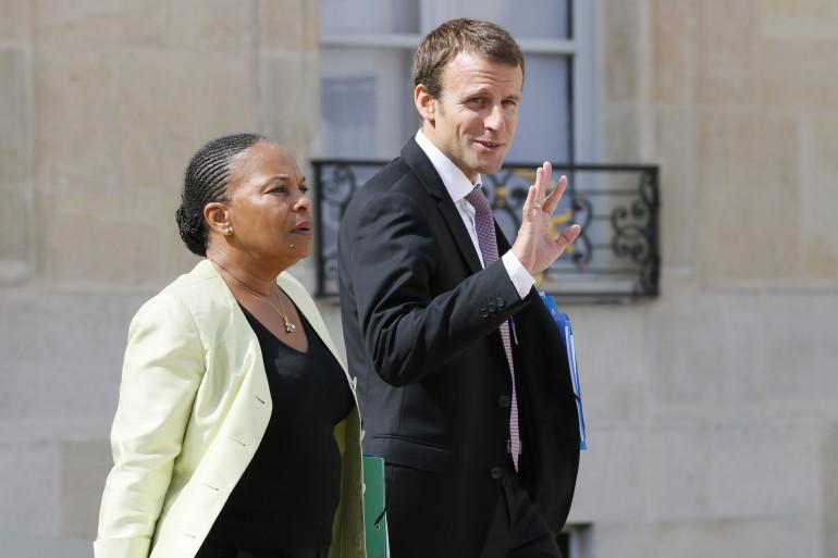 Christiane Taubira et Emmanuel Macron, le 26 août 2015 à Paris