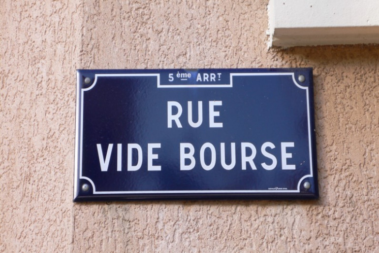 Plaque de la rue vide bourse à Lyon