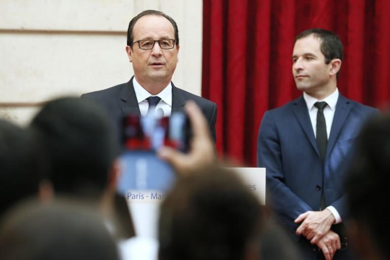 François Hollande et Benoît Hamon, le 15 juillet 2014