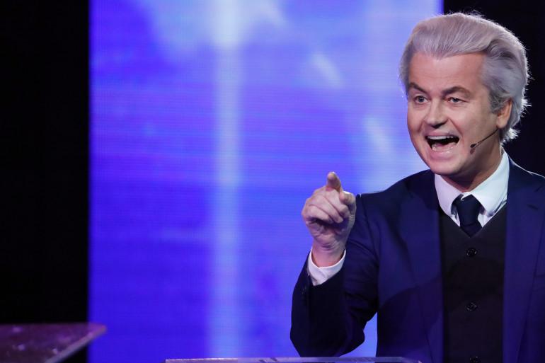 Geert Wilders, leader du Parti pour la liberté, lors d'un débat avec son adversaire le Premier ministre néerlandais Mark Rutte, le 13 mars 2017
