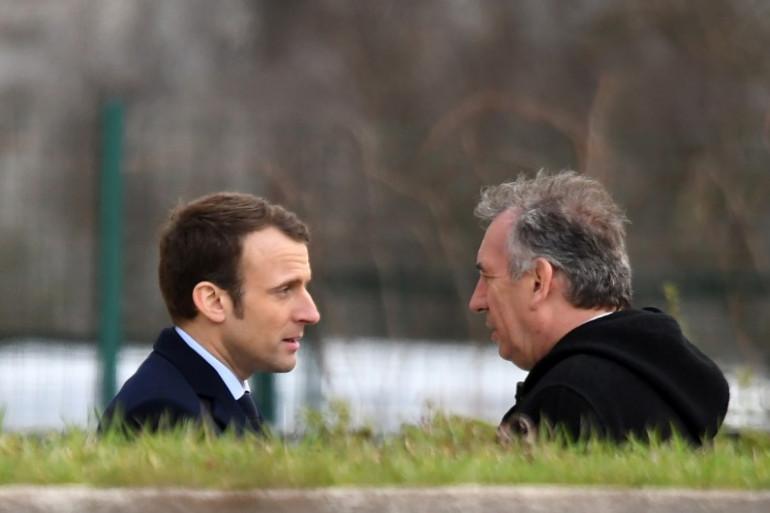 Emmanuel Macron et François Bayrou, le 24 février 2017 à Orléans