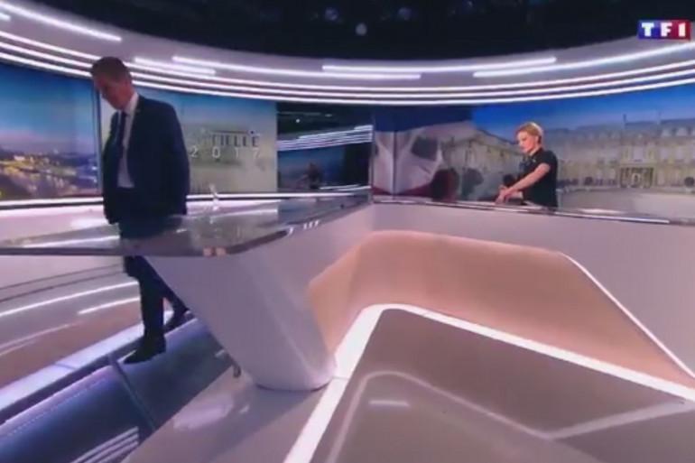 Nicolas Dupont-Aignan quitte le plateau du 20h de TF1 samedi 18 mars.