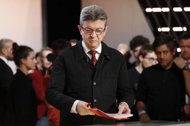 Jean-Luc Mélenchon lors du débat sur TF1, le 20 mars 2017