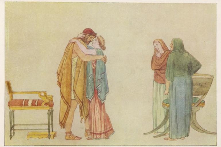 Un dessin représentant Ulysse embrassant son épouse Pénélope, après avoir tué les prétendants
