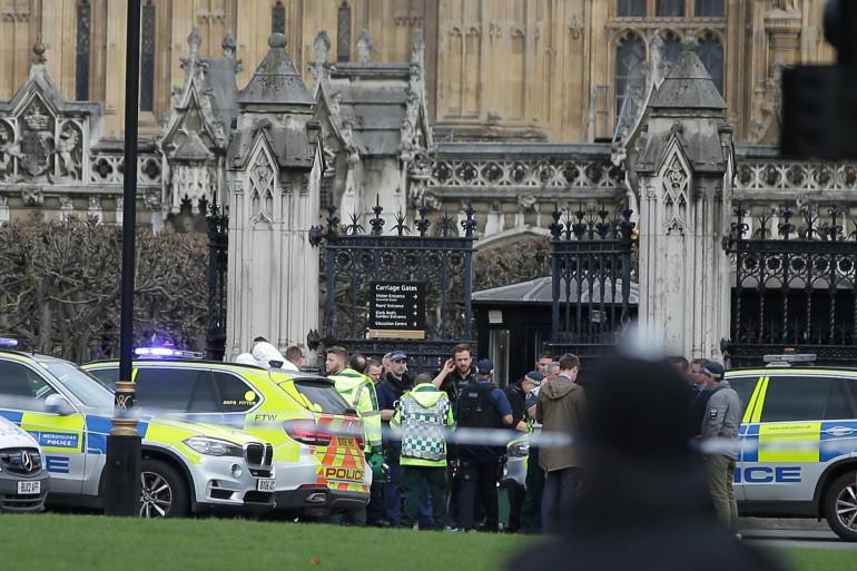 Des policiers à l'entrée du Parlement de Londres le mercredi 22 mars 2017