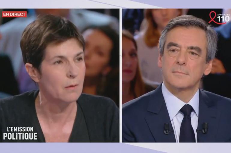 """Christine Angot et François Fillon dans """"L'Émission Politique"""" le 23 mars 2017"""