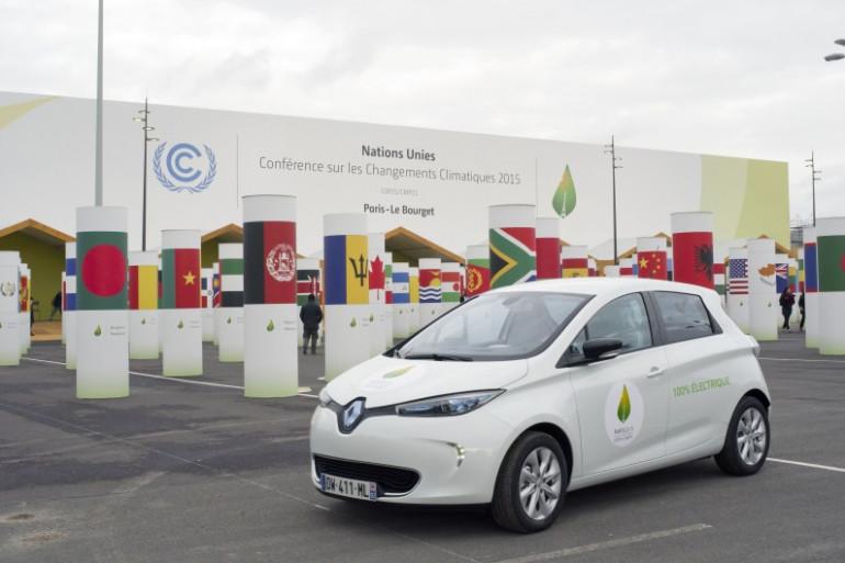 La Renault Zoé électrique à la COP21 le 29 novembre 2015 au Bourget.