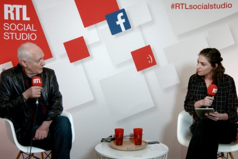 Nicolas Domenach et Marie-Pierre Haddad dans le Social Studio de RTL, le 3 avril 2017