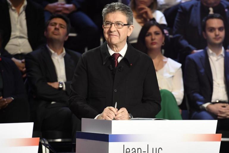 """Jean-Luc Mélenchon lors du """"Grand Débat"""" le 4 avril."""