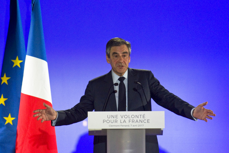 François Fillon, en meeting à Clermont-Ferrand, vendredi 7 avril 2017.