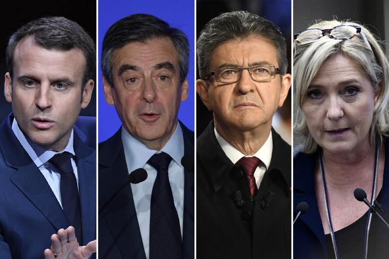 Emmanuel Macron, François Fillon, Jean-Luc Mélenchon et Marine Le Pen, les 4 favoris de la présidentielle