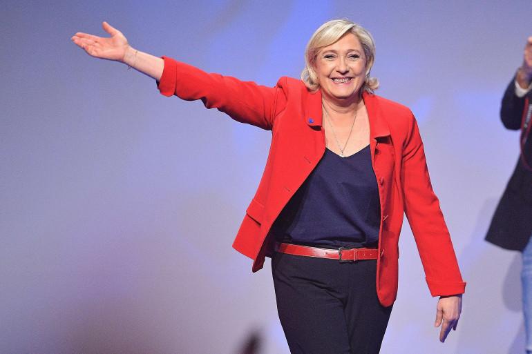 Marine Le Pen au Zénith de Paris le 17 avril 2017.