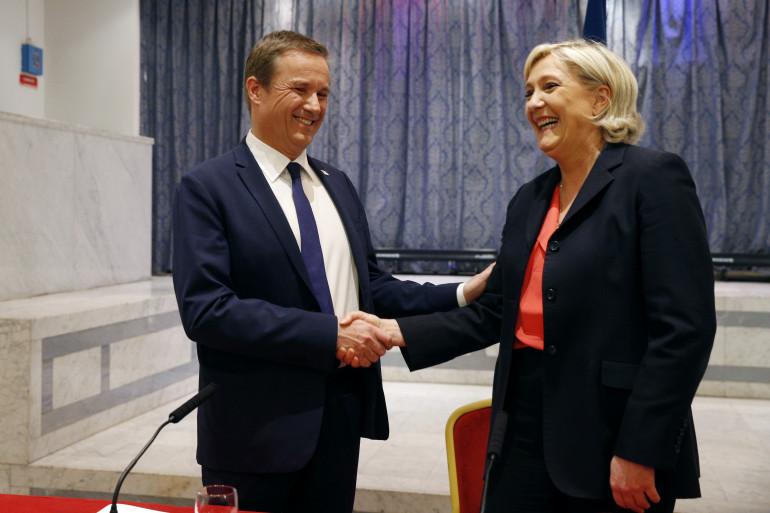Nicolas Dupont-Aignan et Marine Le Pen, le 29 avril 2017