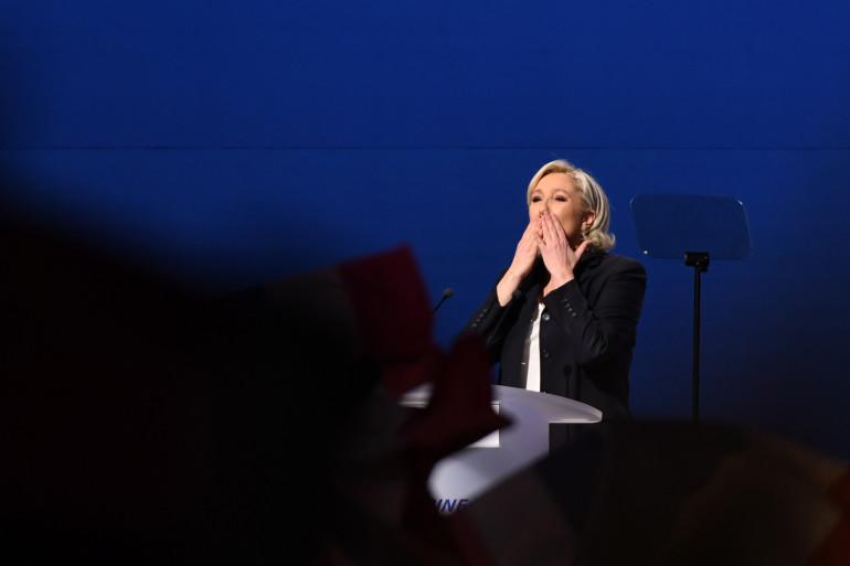 Marine Le Pen lors d'un meeting à Villepinte, le 1er mai 2017