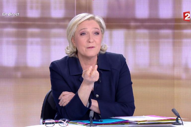 Marine Le Pen lors du débat présidentiel du 3 mai 2017