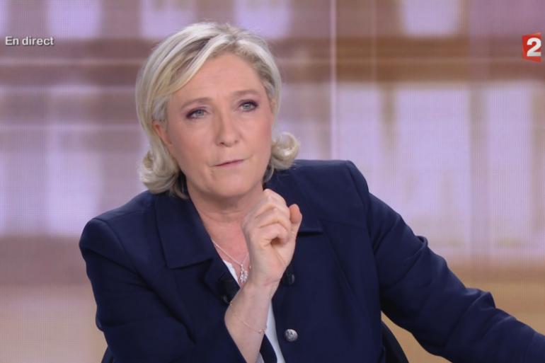 Marine Le Pen lors du débat présidentiel le 3 mai 2017