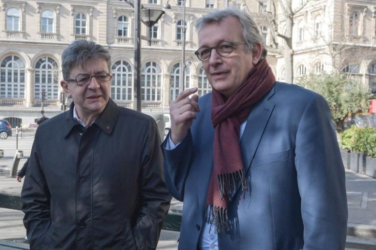 """Jean-Luc Mélenchon (""""La France Insoumise"""") et Pierre Laurent (PCF), le 24 février 2017 à Paris"""