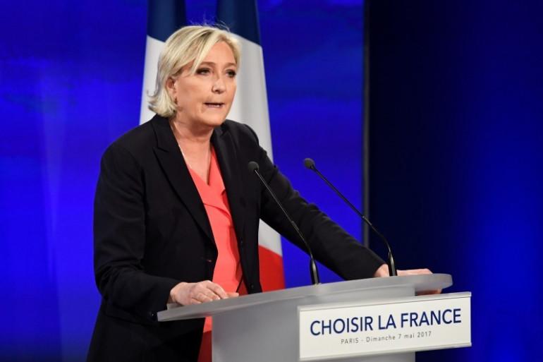 Marine Le Pen après sa défaite au second tour de la présidentielle, le 7 mai 2017