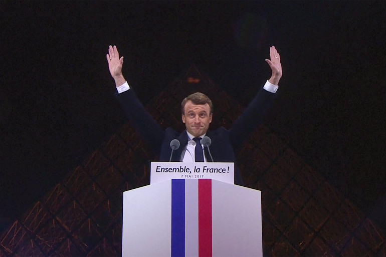 Emmanuel Macron lors de son discours de victoire au second tour de l'élection présidentielle 2017