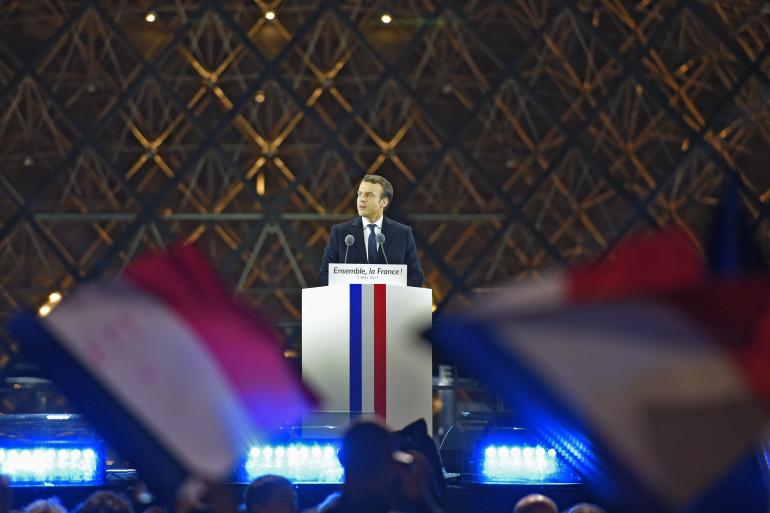 Emmanuel Macron au Louvre, pour célébrer sa victoire à la présidentielle