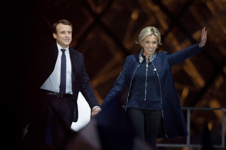 Emmanuel Macron et son épouse Brigitte au soir du 7 mai 2017