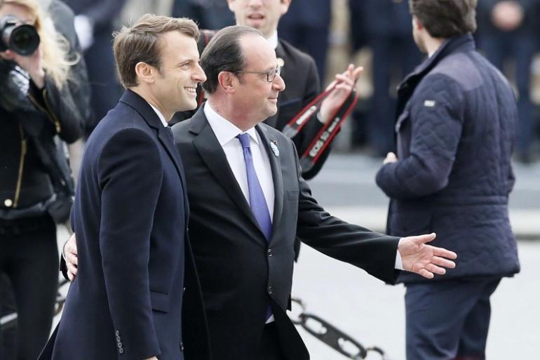 Emmanuel Macron et François Hollande lors des cérémonies du 8 Mai 2017