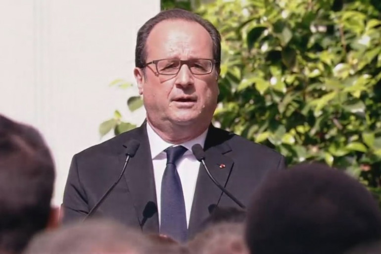François Hollande, rue de Solférino, le 14 mai 2017