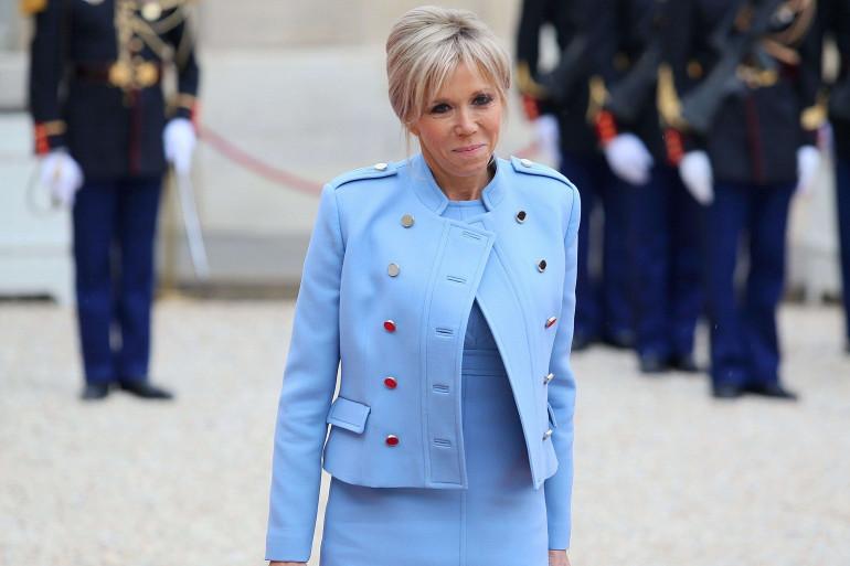 Brigitte Macron lors de la passation de pouvoir entre François Hollande et son mari, le 14 mai 2017