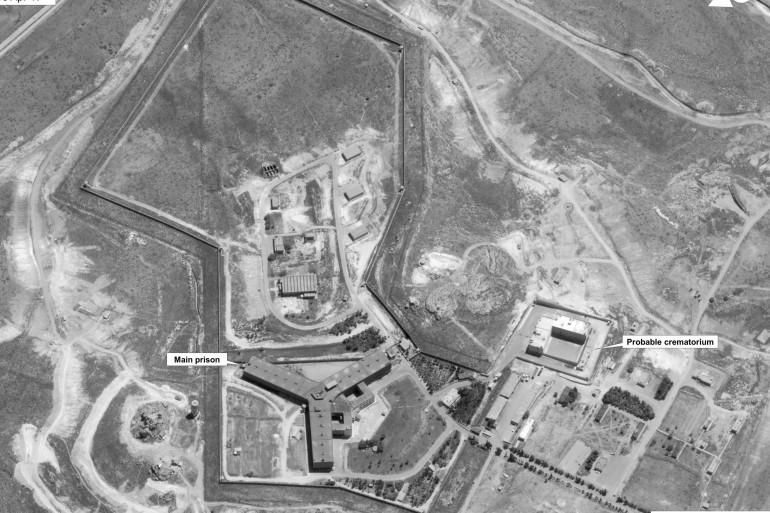 Image satellite publiée le 15 mai 2017 par le département d'État américain, représentant la prison syrienne de Saydnaya.