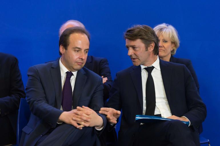 Jean-Christophe Lagarde au côté de François Baroin au siège des Républicains (Paris) le 10 mai 2017.