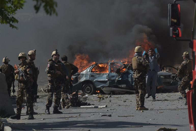 Le quartier diplomatique de Kaboul (Afghanistan) frappé par une forte explosion le 31 mai 2017