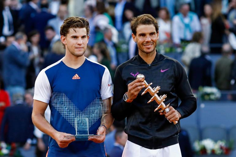 Dominic Thiem et Rafael Nadal en mai 2017 à Madrid (victoire de l'Espagnol 7-6, 6-4 en finale)