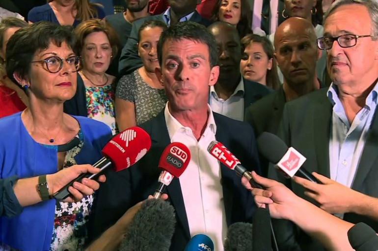 Manuel Valls, lors de son discours de victoire à Evry le 18 juin au soir