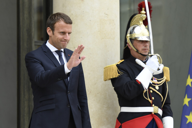 Emmanuel Macron, devant l'Élysée le 28 juin 2017