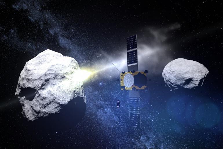 Visuel fourni par l'Agence spatiale européenne d'un test d'impact sur l'astéroïde Didymos observé par la sonde AIM