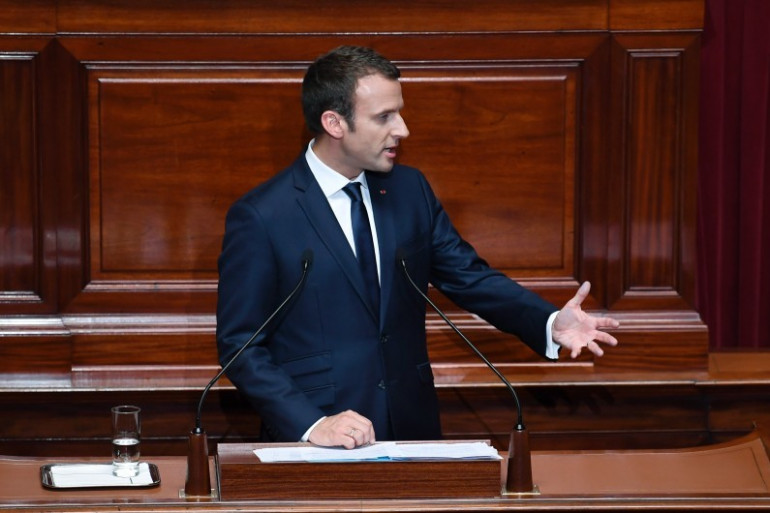 Emmanuel Macron devant les parlementaires réunis en Congrès à Versailles, le 3 juillet 2017