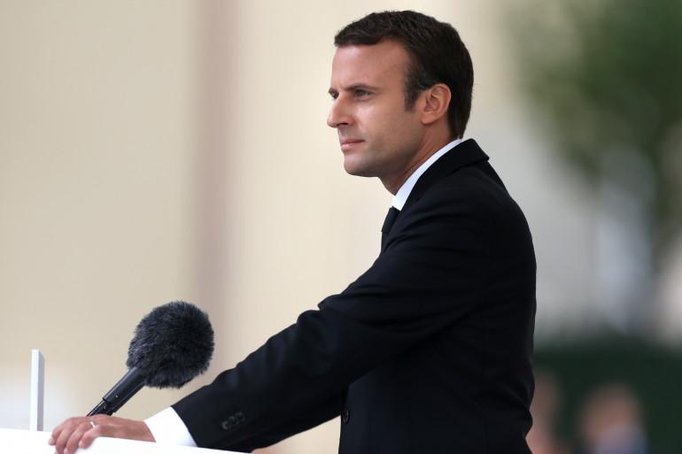 Emmanuel Macron lors de son discours d'hommage au père Hamel, le 26 Juillet 2017.