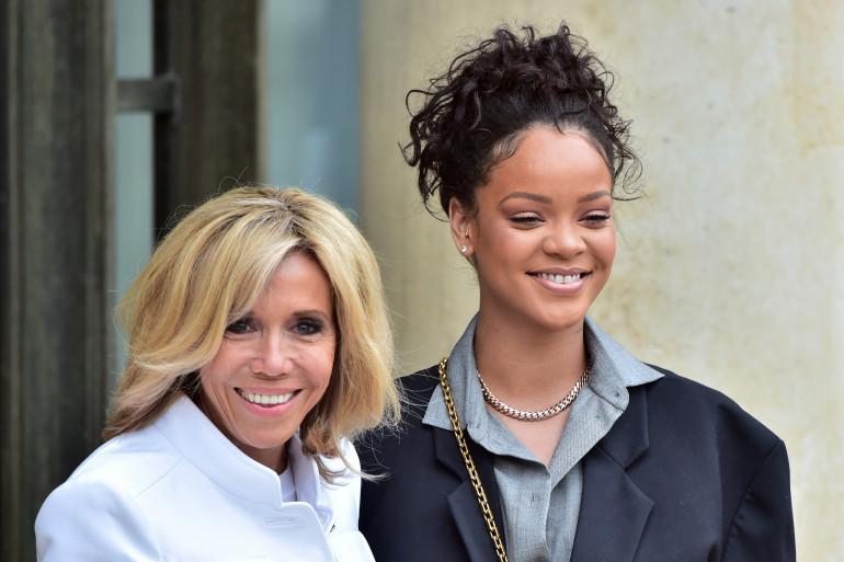 Rihanna et Brigitte Macron à l'Élysée, le 26 juillet 2017