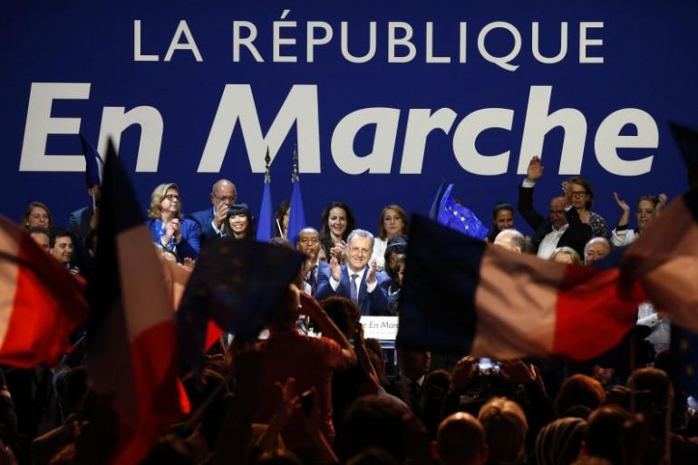 Un meeting de campagne de La République En Marche (REM) à Aubervilliers (Seine-Saint-Denis)