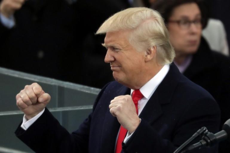 Donald Trump lors de son discours d'investiture, le 20 janvier à Washington