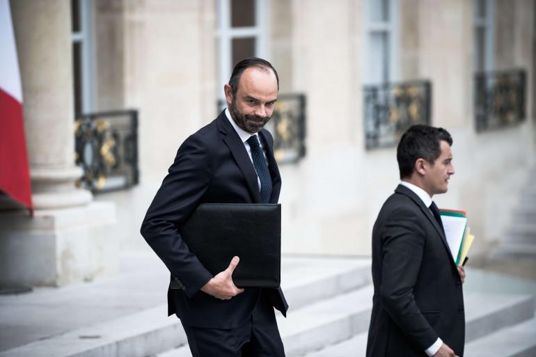 Édouard Philippe et Gérald Darmanin à la sortie du conseil des ministres le 28 juillet 2017.