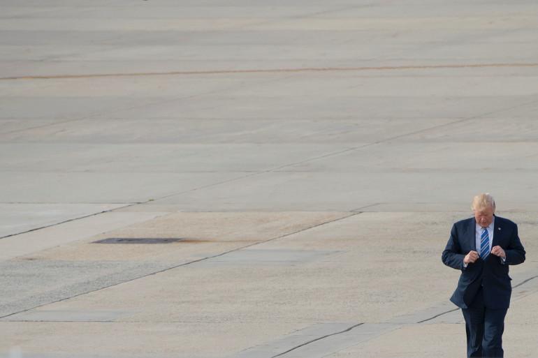 Donald Trump, le 3 août 2017 sur la base aérienne d'Andrews (Maryland) aux États-Unis