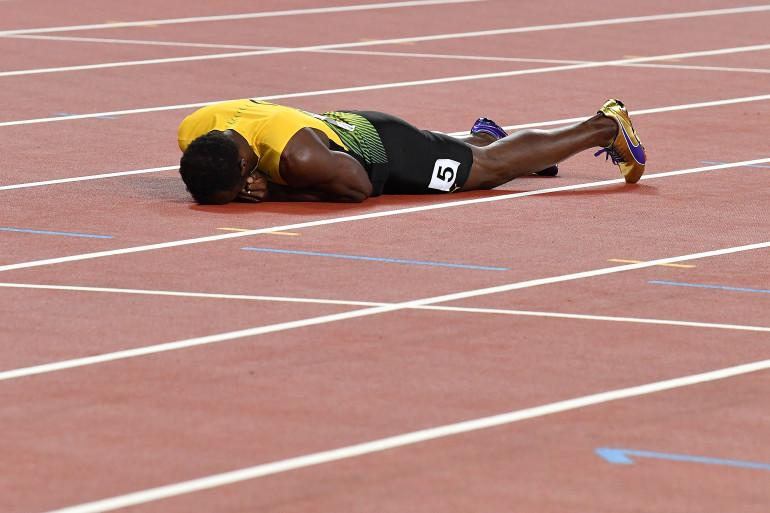 Dernier relayeur jamaïcain du 4x100 m à Londres, Usain Bolt n'a pu terminer la dernière course de sa carrière pour cause de blessure.