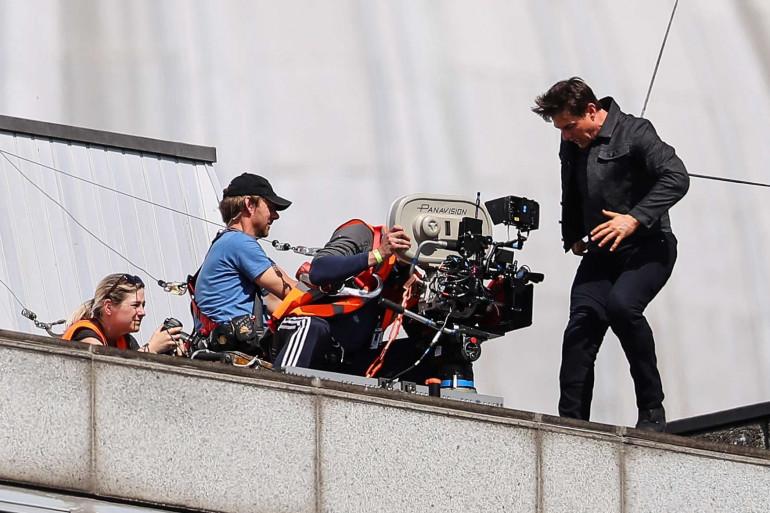 """To Cruise sur le tournage de """"Mission Impossible 6"""" à Londres le 13 août 2017."""