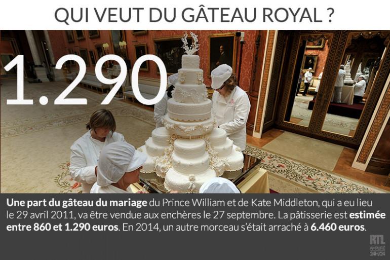 Une part du gâteau de mariage de William et Kate vendue aux enchères
