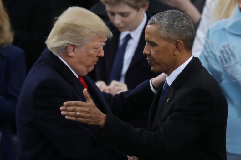 Donald Trump et Barack Obama lors de la passation de pouvoir, le 20 janvier 2017