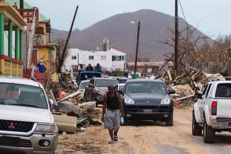 Grande Case, dans la partie française de Saint-Martin, après le passage de l'ouragan Irma.